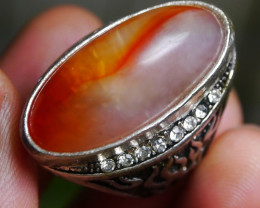 89.70 CT UNTREATED Indonesian Chalcedony Agate Jewelry Ring