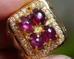 64.00 CT Pretty Natural Star Ruby Gemstone Ring Jewelry
