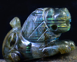 Genuine 750.00 Cts Blue Flash Labradorite Carved Lion