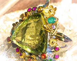 Breathtaking Lemon Quartz Emerald Ruby Large Beautiful Ring Gold and Silver