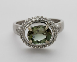 1.9ct Green Sunstone, White Gold Ring with Diamonds (S1168R)