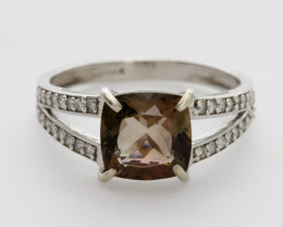 2.2ct Rootbeer Sunstone, White Gold Ring with Diamonds (S1271R)