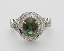 2.8ct Dichroic Sunstone, White Gold Ring with Diamonds (S1309R)