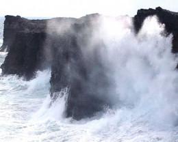Volcanic cliffs at Volcano National Park, Volcano, Hawaii