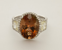 6.6ct Red Sunstone, White Gold Ring with Yellow Diamonds (S1369R)