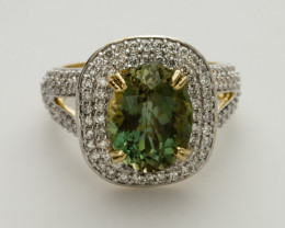 4.1ct Green Sunstone, Gold Ring with Diamonds (S1429R)