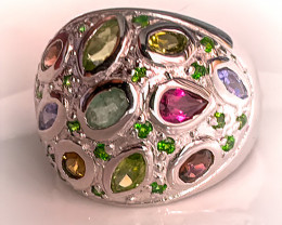 Chrome Diopside Rhodolite, Peridot, Tanzanite Gold and Silver Ring Size 8