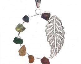 Seven Chakra - natural stones - Fern Leaf Design pendant - BR 1054