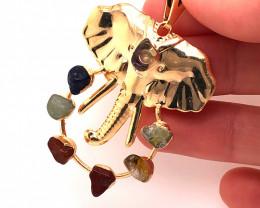 Elephant Gold Seven Chakra - natural stones - BR 1059