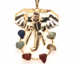 Elephant Gold Seven Chakra - natural stones - BR 1060