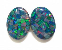 Pair Mosaic Triplets,Bright Pair Opals OPJ 2546