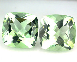 ~PAIR~ 4.62 Cts Natural Green Prasiolite / Amethyst 8mm Cushion Brazil