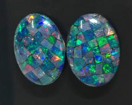 Pair Mosaic Triplets,Bright Pair Opals OPJ 2547