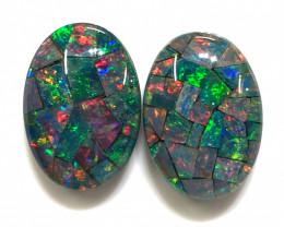 Pair Mosaic Triplets,Bright Pair Opals OPJ 2552