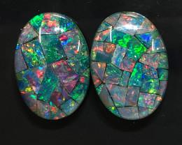 Pair Mosaic Trplets,Bright Pair Opals OPJ 2553