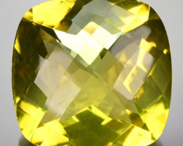 26.32 Cts Natural Lemon Quartz 20mm Cushion Checkerboard Cut Brazil