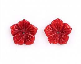 New Bamboo Coral Rose Earrings, Coral Flower beads, Summer beads