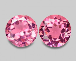 5.24 Cts Pairs World Very Rare Intense Pink Color Natural Obsidian Gemstone