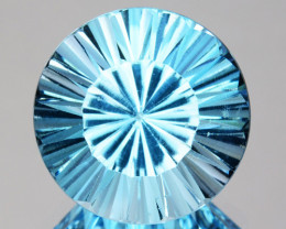 Splendid!! 3.03 Cts Natural Sky Blue Topaz 9mm Round Concave Cut Brazil