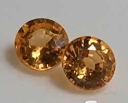 Bright Mandarin Garnet Pair 4.50mm Jewellery grade gems