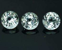 6.12 Cts Natural Sparkling White Topaz 7.5mm Round 3Pcs Brazil