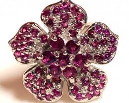 Superb Rapturous Raspberry Rhodolite Garnet Ring Size 8