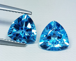 4.22 ct Pair of  Stunning Triangle Cut Natural Swiss Blue Topaz