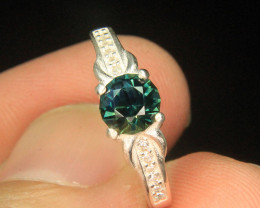 Wow Very Beautiful Greenish Blue Color Australian Sapphire in  Fancy Ring F