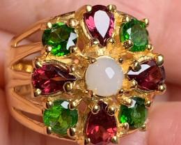 For Hughie Rhodolite Garnet Diopside Opal 14kt Gold .925 Sterling Silver Ri