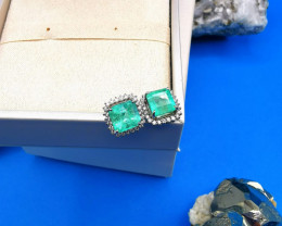 4,13ct Colombian Emerald 18k Solid Gold Earrings Colombian Natural Emerald