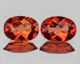 8x6 mm Oval Checker 2pcs 1.85cts Red-Orange Andesine [VVS]