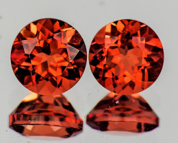 6.00 mm Round 2 pcs 1.82cts Red-Orange Andesine [VVS]