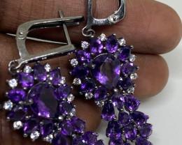 (18) Wonderful Nat 55 tcw  Top Intense Purple Amethyst and CZ  Earrings