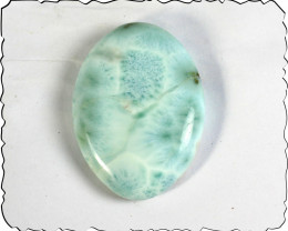 Unusual Pattern Natural Light Blue Larimar Oval Cabochon 39x29x8mm 75cts