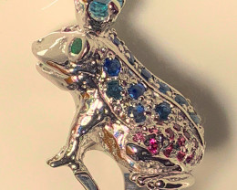 A Frog Chrome Diopside Zircon Ruby Sapphire Gold Sterling Silver ring size