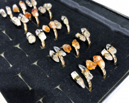 x15 Set Raw Citrine & Crystal Golden Plated Rings - BR 1114