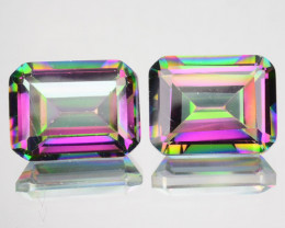 ~RAINBOW~ 3.96 Cts Natural Mystic Topaz 8x6mm Emerald Cut 2 Pcs Brazil