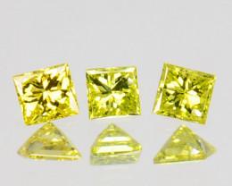 0.08 Cts Natural Diamond Golden Yellow 3 Pcs Princess Cut Africa