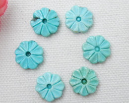 23ct 6Pcs  New Design Natural Turquoise Craved Flower Cabochon E255