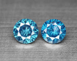 0.34 Cts Sparkling Rare Fancy Blue Natural Diamond Pairs