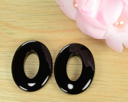 36.34 Cts 100% Natural pair Of Black Onyx Loose Gemstone