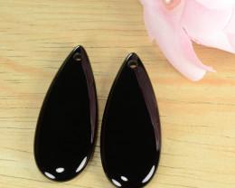 44.11 Cts 100% Natural pair Of Black Onyx Loose Gemstone