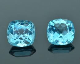 Perfect Pair Rare 4.69 ct Amazing Luster Blue Apatite SKU.7