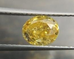 Certified 1.01ct  Fancy Vivid greenish Yellow  Diamond  , 100% Natural Untr