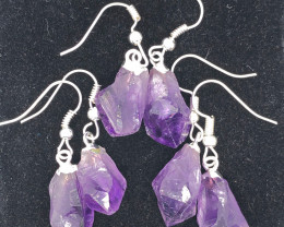 x 3 Terminated Point Amethyst Gemstone Drop Earrings - BR 1131