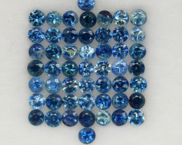 4.0 ct. 2.5MM.DIAMOND CUT BLUE  SAPPHIRE NATURAL GEMSTONE 51PCS.