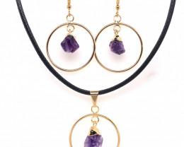 Raw Circle Amethyst Set Pendant & Earrings - BR 1140