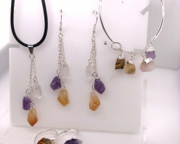 Raw Gemstone Set Citrine, Crystal & Amethyst - BR 1146