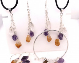 6 Raw Gemstone Set Citrine, Crystal & Amethyst - BR 1151