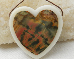 115ct New Design Heart Shape Multi-Color Picasso jasper And white jade Inta